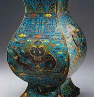 Cloisonne enamel vessel fanghu