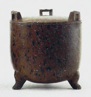 Fig 1. Turned steatite tripod vessel and cover, Meiyintang collection