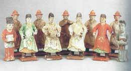 Fig. 1 Pottery figures excavated from a tomb at Jianwangjing in Chang'an county, Shaanxi province, now in Shaanxi History Museum