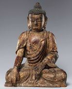 Fig. 1 Lacquered and gilded wood figure of Buddha, Metropolitan Museum of Art