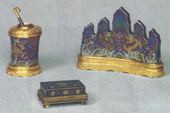 Fig. 1 A set of cloisonné enamel stationery utensils, Palace Museum, Beijing