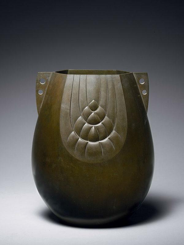 Bronze Vase With Barley Sheaf Decoration By Akijo