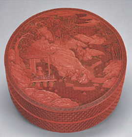 Fig. 1 Lacquer circular box with floating wine-up scene, National Palace Museum, Taipei