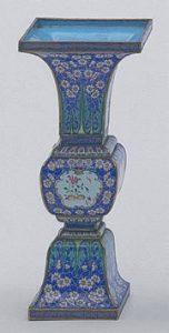 Painted enamel vase, fang gu