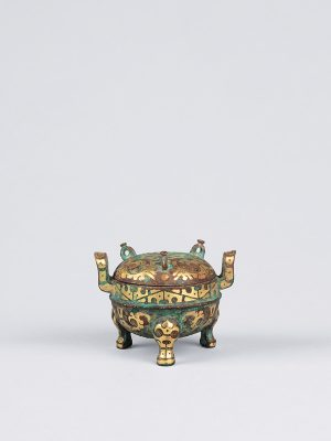Gold inlaid miniature bronze tripod vessel, ding