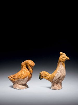 Miniature pottery duck and cockerel