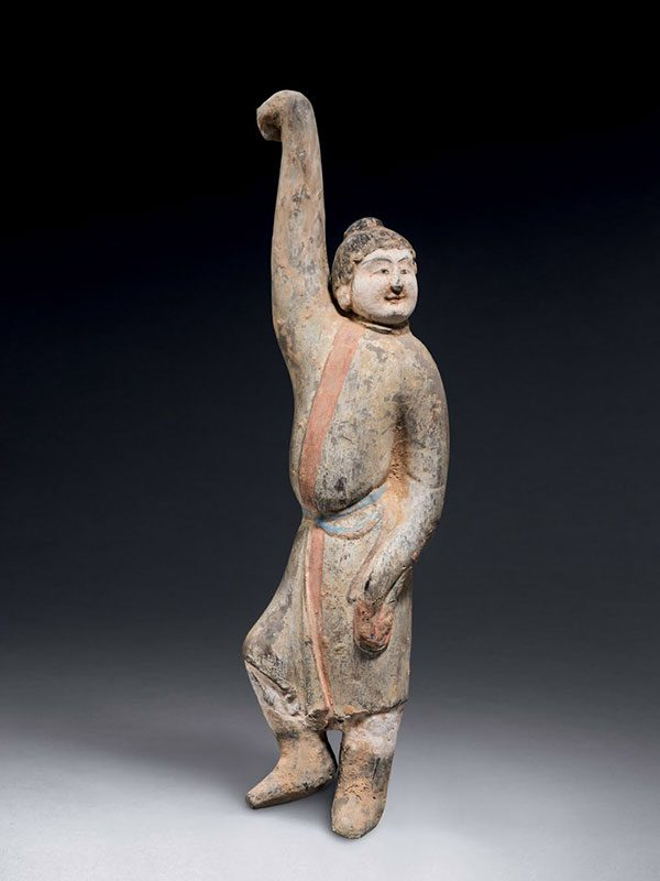 Pottery figure of a foreign dancer
