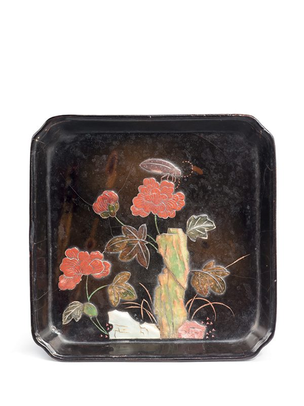 Inlaid lacquer dish