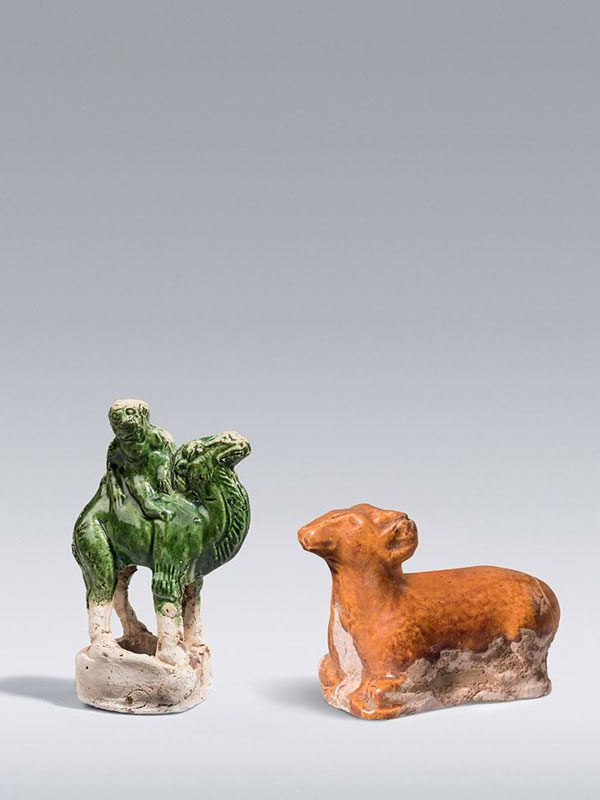 Miniature pottery ram and camel