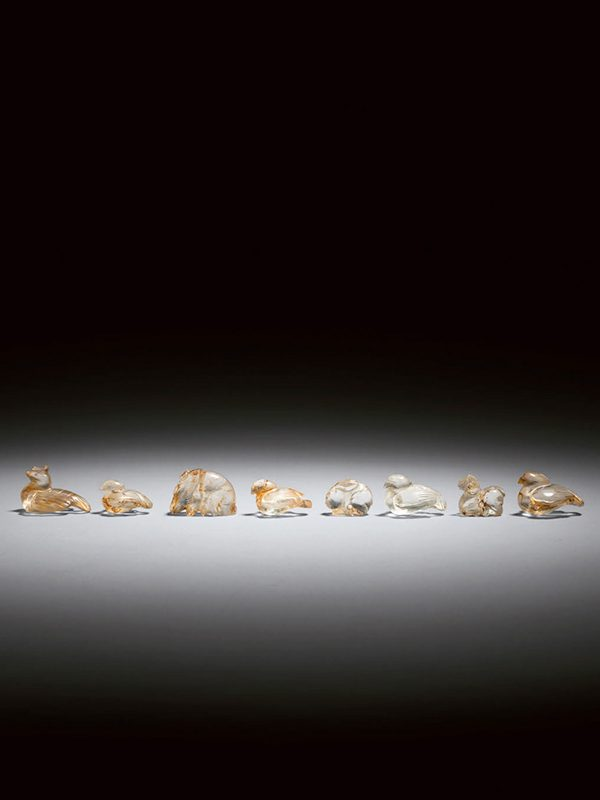 Group of eight rock crystal animal carvings