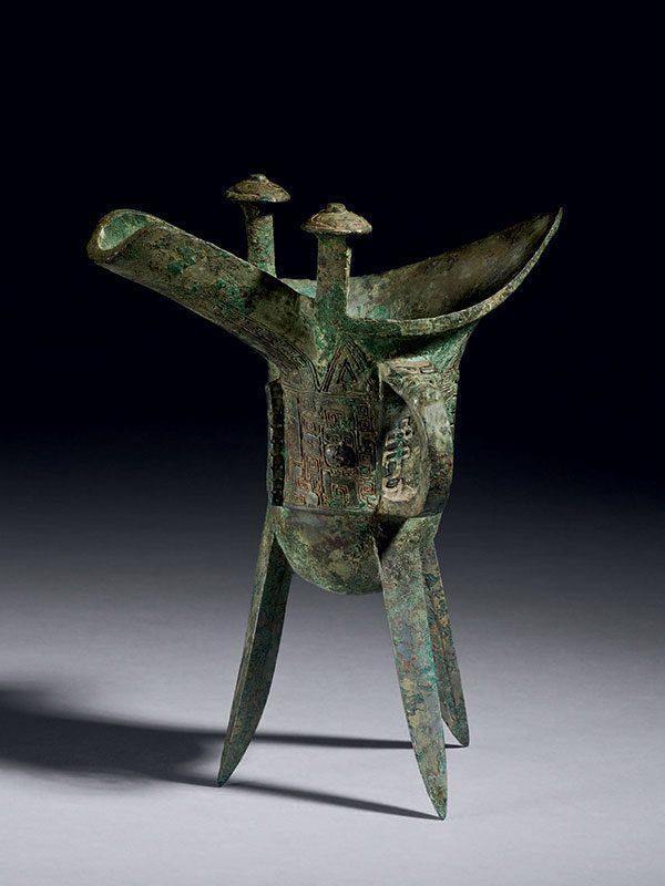 Bronze ceremonial liabation vessel