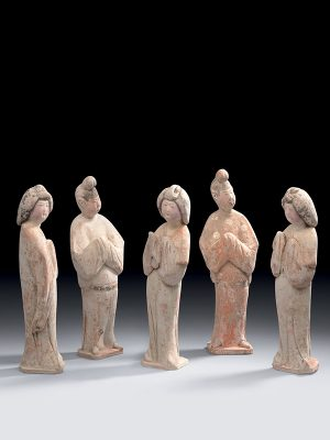 Group of five pottery figures