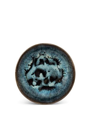 Black glazed stoneware saucer with milky-blue splashes