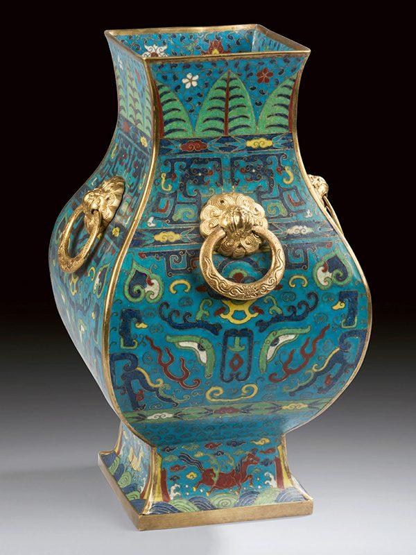 Cloisonné enamel vessel, fanghu