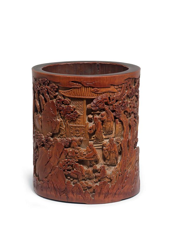 Bamboo brushpot with figures in landscape