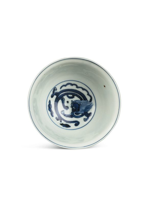 Pair of porcelain bowls with chi dragons