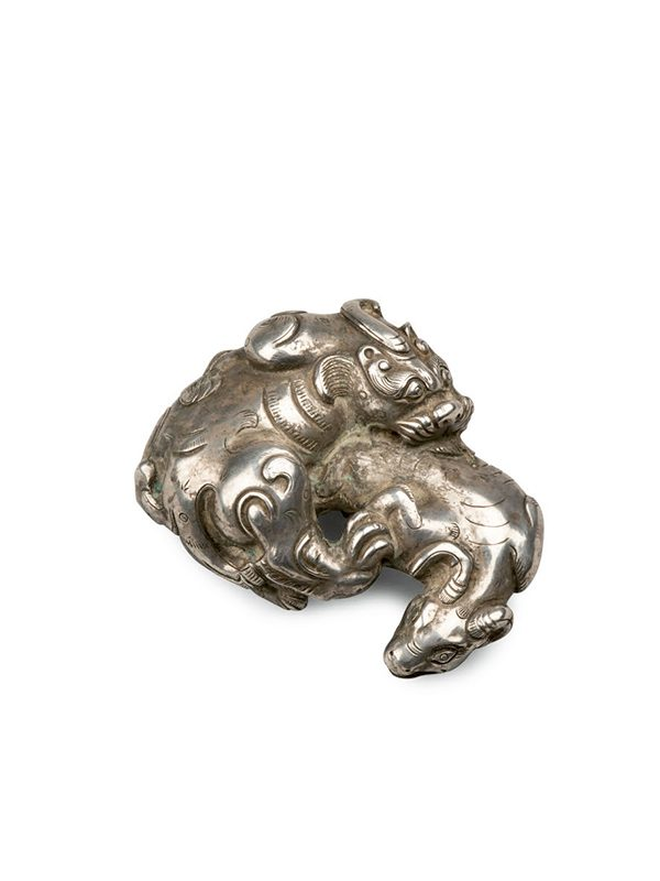Copper and silver weight of two animals