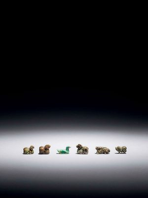 Group of six turquoise animal carvings