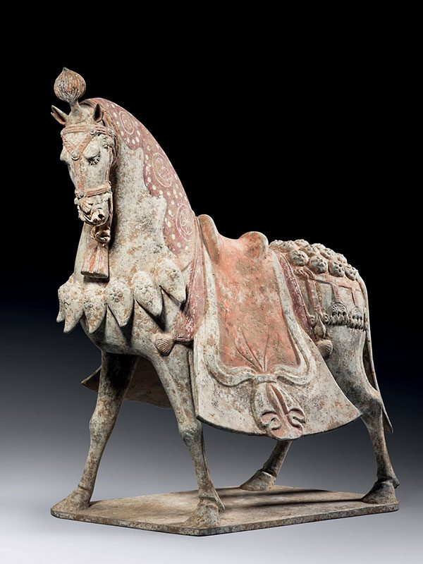 Pottery caparisoned horse