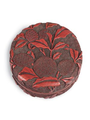 Lacquer box carved with lychees