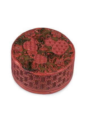 Red lacquer circular box with gourds