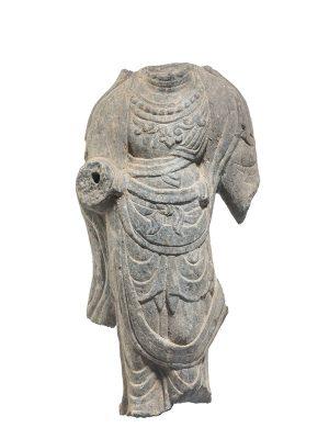 Grey limestone torso of Bodhisattva
