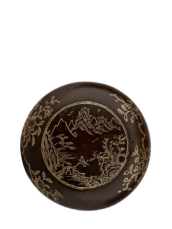 Gold-inlaid copper seal paste box
