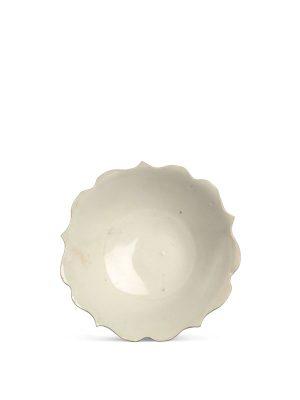 White porcelain foliate dish