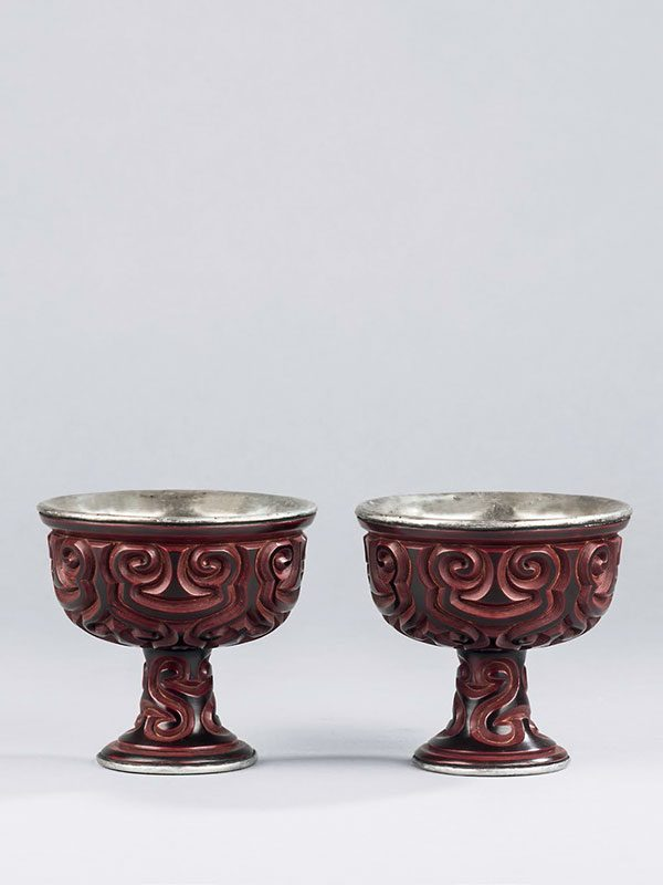 Two tixi lacquer stem cups