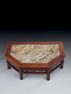 Miniature huanghuali hexagonal stand with marble top