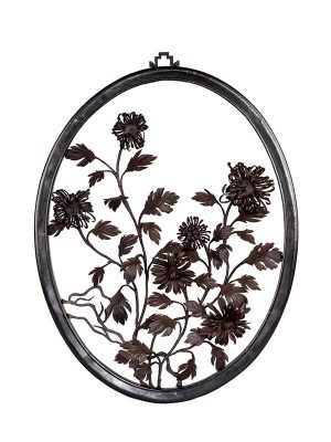 Iron painting in oval frame