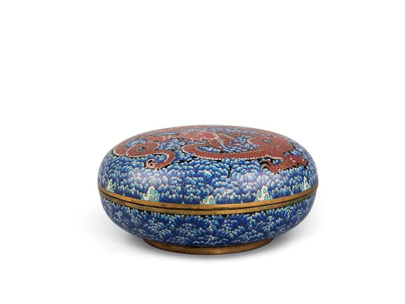 Cloisonné enamel box with dragon motif