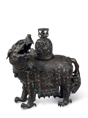 Bronze incense burner in the form of a lion-like mythical animal