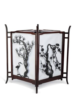 Pair of hongmu and iron folding lanterns