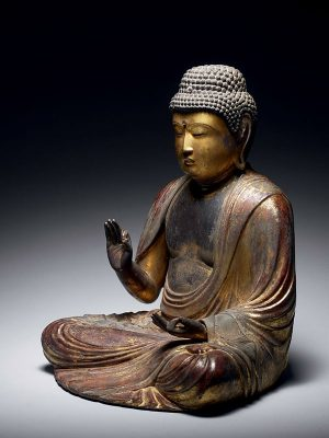 Lacquered wood sculpture of seated Buddha (Amida Nyorai)