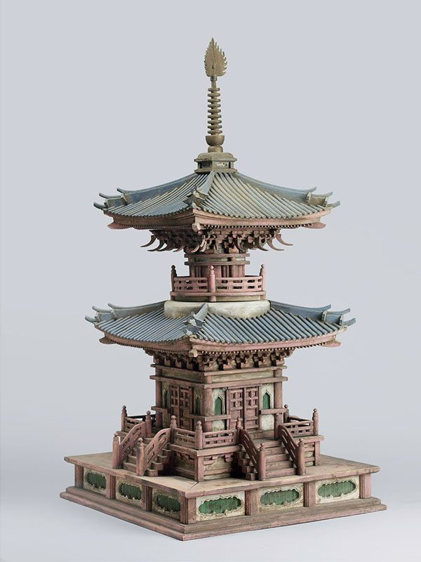 Monumental plaster and wood model of a pagoda