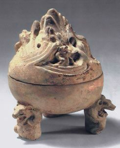 Pottery incense burner, boshanlu with bear-shaped feet