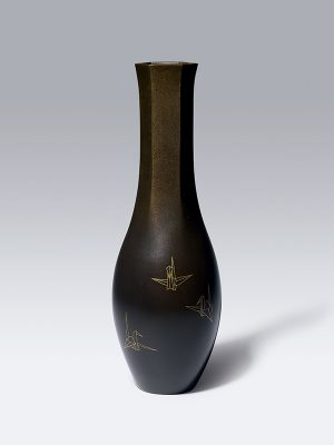 Bronze vase inlaid with Orizuru