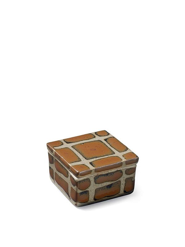 Stoneware box by Hamada Shoji