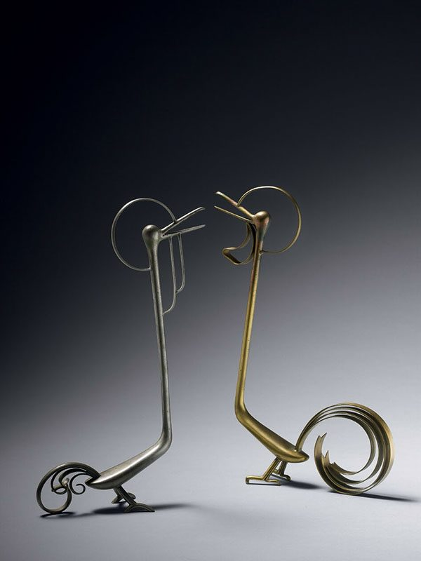 Two metal sculptures of birds, by Katou Sougen