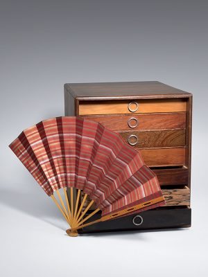 Wooden box containing fans