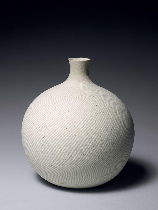 Neriage porcelain bottle vase, by Matsui Kosei