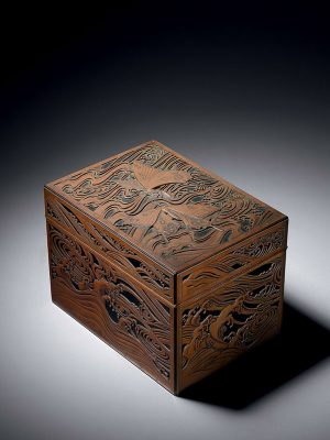 Brass overlaid wood box, by Osuga Takashi