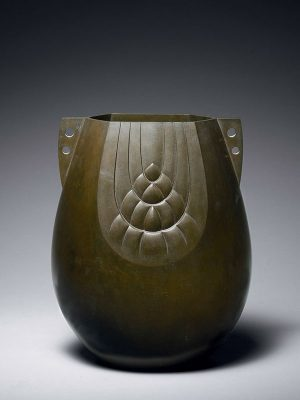Bronze vase with barley sheaf decoration, by Akijo