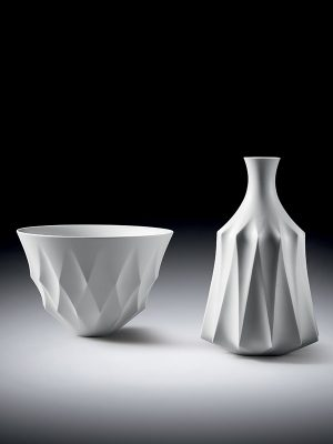 White porcelain bowl and bottle