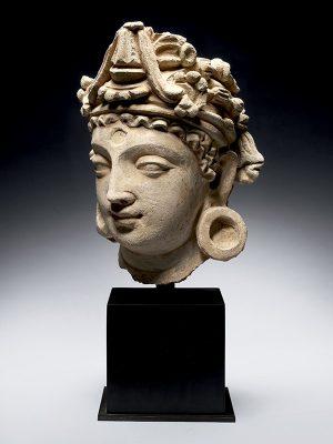 Stucco head of bodhisattva avalokitesvara