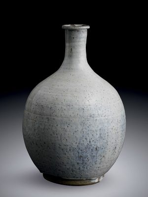 White glazed earthenware bottle vase