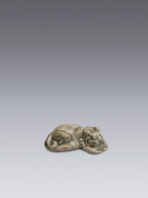 Yaozhou stoneware model of a recumbent lion
