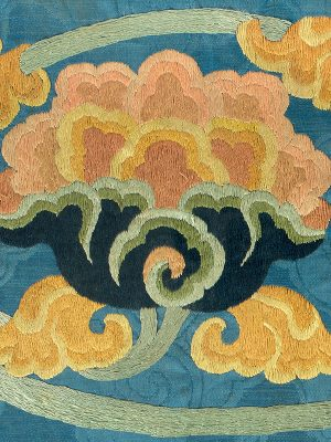 Panel embroidered with lotus flowers