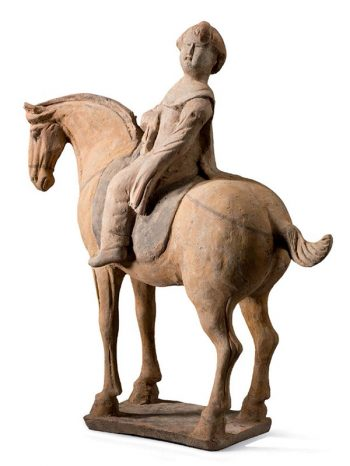 Four pottery equestrians